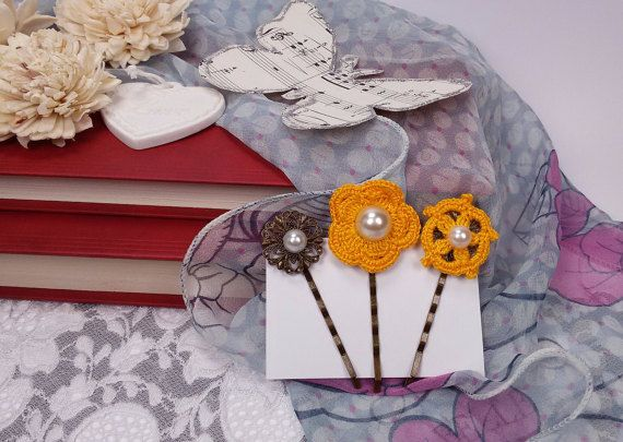3 hair accessories yellow crochet hair pins yellow by Rocreanique on Etsy