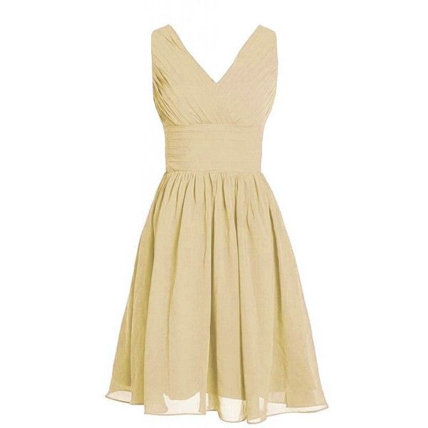 MyProm Women's Straps Short Chiffon Bridesmaid Dress Party Dress ($20) ❤ liked on Polyvore featuring dresses, beige chiffon dress, strappy chiffon dress, cocktail bridesmaid dresses, beige dress and chiffon dresses
