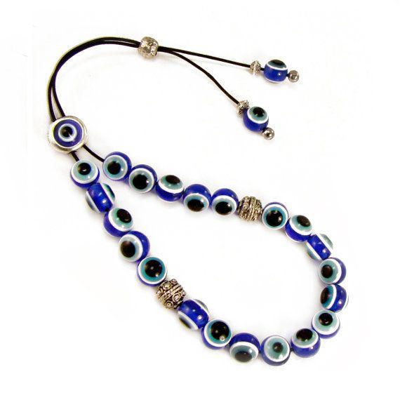 Evil Eye Komboloi Greek Worry Beads Blue by sunnybeadsbythesea, $8.90