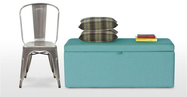 Decker Upholstered Storage Bench in med blue   made.com