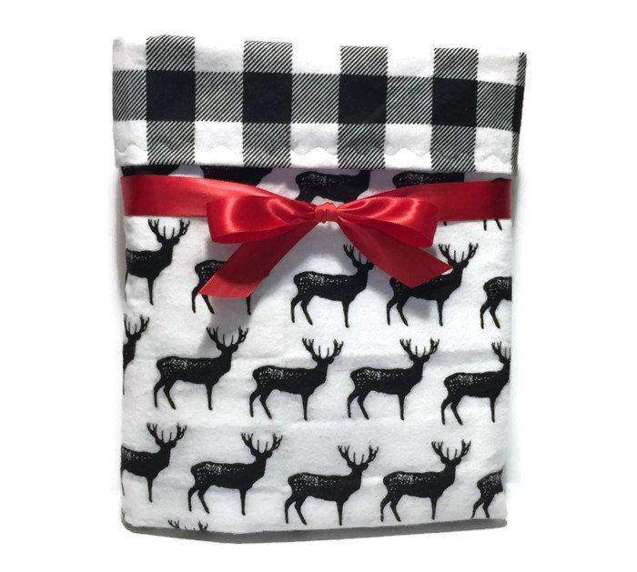 Flannel Baby Blanket - Baby Boy Blanket - Deer Blanket - Rustic Baby Bedding - Buffalo Plaid Baby - Crib Blanket - Cot Blanket - Baby Gifts by BeastiesBabies on Etsy
