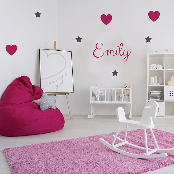 Heart & star wall decal, personalized name decal, wall sticker, vinyl wall decal, custom wall decal, heart decal, star decal, wall mural 414