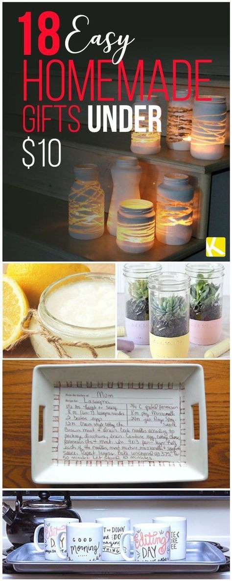 18 Easy Homemade Gifts Under 10 Christmas Crafts Pinterest