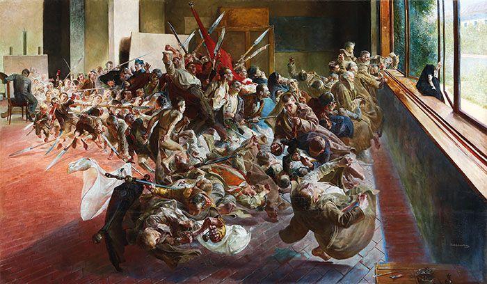 """Jacek Malczewski,  Melancholia (Melancholy), 1890–94, Oil on canvas, 54 ¾"""" × 94 ½"""". COURTESY GAGOSIAN GALLERY/MUZEUM NARODOWE W POZNANIU, POZNAŃ/FUNDACJA RACZYŃSKICH"""