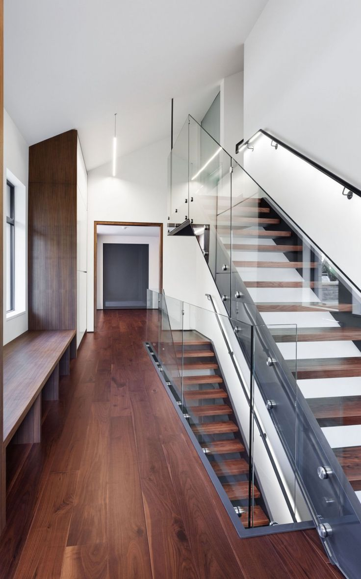 Interior:Adorable Staircase With Glass Handle Also Wooden Interior Design Ideas With Wooden Flooring Also Wooden Shelves From Iron Lace Modern Mansion Style With Adorable Black Polka Dots Staircase In Canada Modern Mansion Style with Adorable Black Polka Dots Staircase in Canada