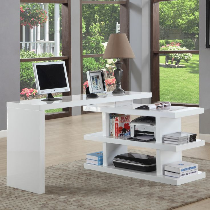 Features:  -Extendable home office.  -Shelves can be assembled on the opposite side of the desk.  -Desk can be assembled in a variety of configurations.  -The desk portion cannot be rotated so that it