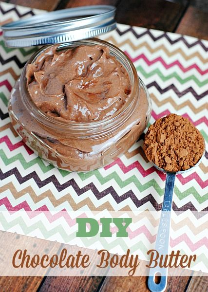 You know that I love homemade beauty products already. It's pretty evident by such posts as my DIY PeppermintBath Bombs, my Orange Coconut Sugar Scrub, and others. So today's homemade body goody is this amazing chocolate body butter. Please don't eat it! I know it smells amazing, but trust me, it's better on the outside …
