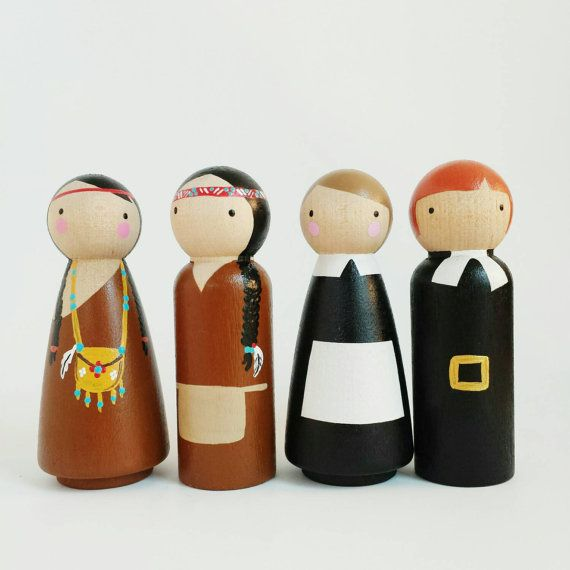 Thanksgiving peg dolls pilgrims and indians by