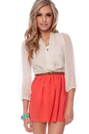 LOVE: Colors Combos, Flowy Skirts, Cute Outfits, White Blouses, Summer Colors, Spring Outfits, Coral Skirts, Outfits Summer, My Style