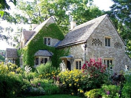 An English Country cottage called Cotswold Cottage was originally from Chedworth, Bloucestershire, England, but now resides in Dearborn, Michigan thanks to Henry Ford who bought the cottage and moved it to Michigan. (http://www.housekaboodle.com/english-country-cotswold-cottage/) (****See Pin from different photographers of same house.)