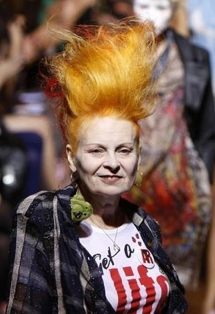 Vivienne Westwood doing a fairly good impression of a gonk!