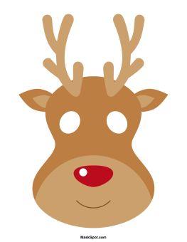 Reindeer mask templates including a coloring page version of the mask. Free printable PDF at http://maskspot.com/download/reindeer-mask/