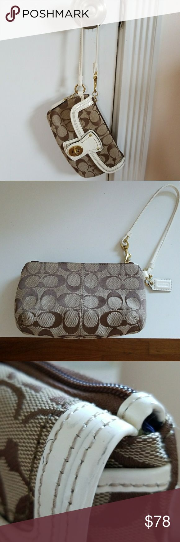 "Coach Legacy Signature Turnlock Wristlet Inside/Outside clean ~ Approx : 7.5"" x 4.5"" Coach Bags Clutches & Wristlets"