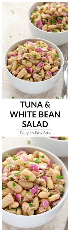 This healthy Tuna & White Bean Salad recipe requires only 6 ingredients and 10 minutes to make! A satisfying, tasty and protein-packed meal.