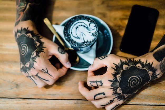 Download Tattooed Hands Hands Holding A Glass With Coffee For Free In 2020 Tattoo Designs And Meanings Tattoo Designs Hand Tattoos