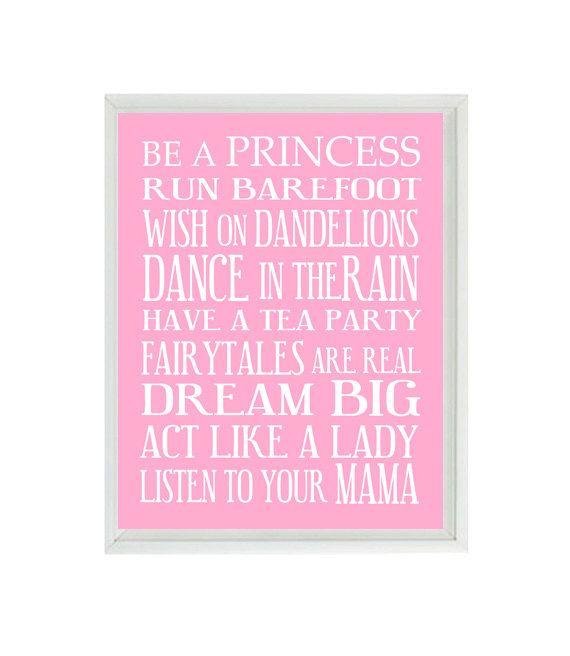Girl Nursery Art - Subway Art - Typography - Toddler Baby Girl Rules - Playroom Room Wall Art Print Poster 8x10