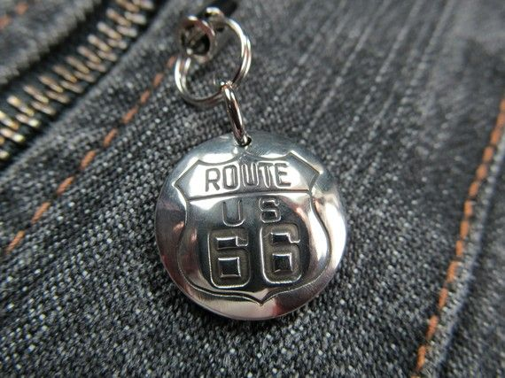 The Mother Road Route 66 Highway Silver Zipper Pull by FayWestDesigns