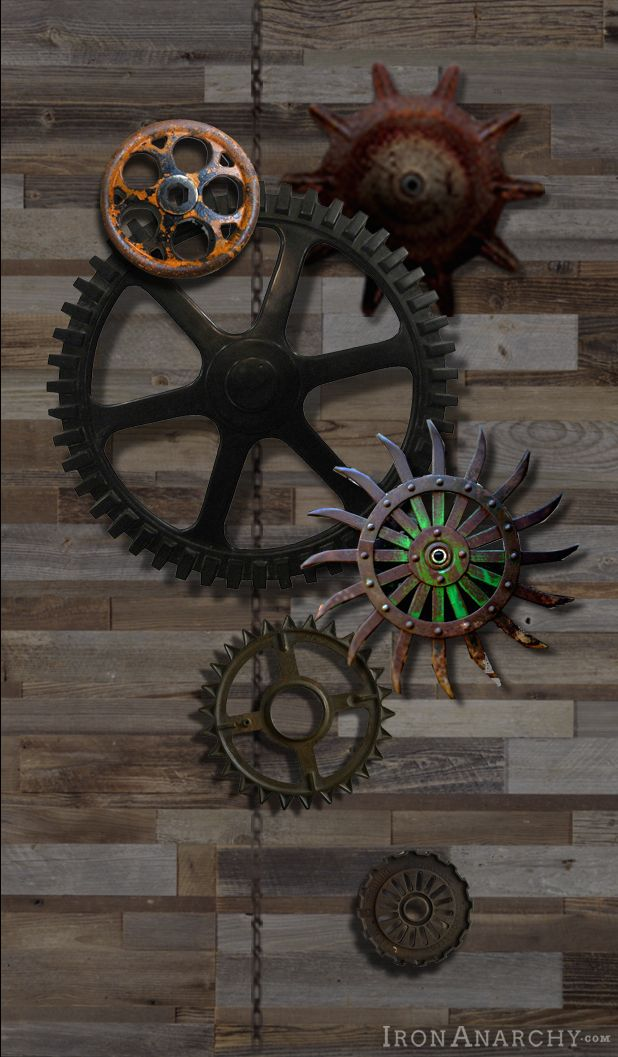 industrial wall decor of antique iron gears and wheels from