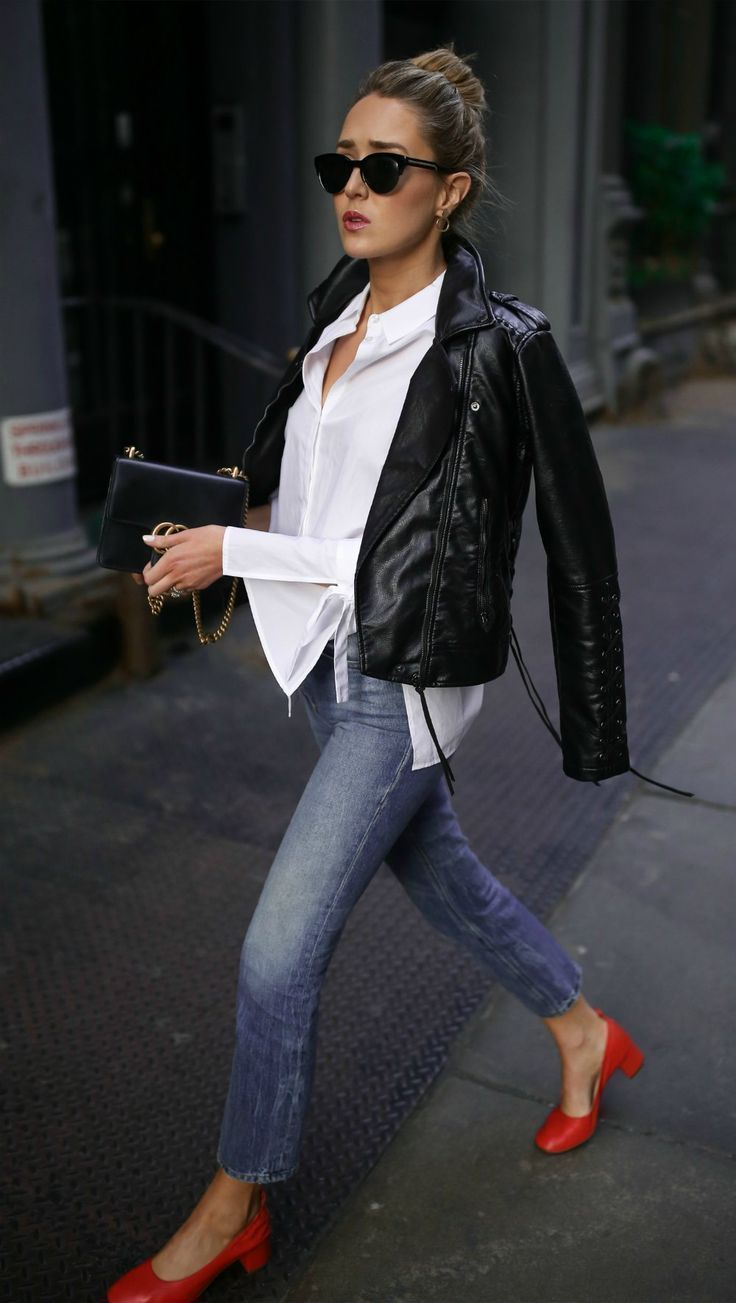 LOOKS FOR LESS: My Top 8 Most-Liked Looks, Recreated // Black leather moto jacket, classic white button-down, straight leg medium wash denim + red block heel pumps