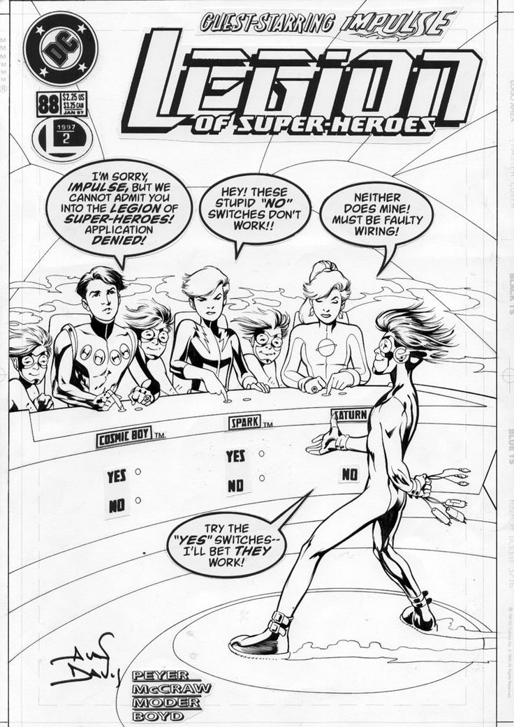 This is the cover for Legion of Super-Heroes #88, drawn by Alan Davis. This is the funniest of all the covers in the LSH run, so I was glad to find this larger version of the inked pencils for optimum clarity.