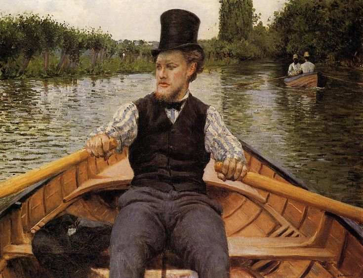 'Canotier au Chapeau Haut de Forme' , 1878, by Gustave Caillebotte. I like the broad stripes on the shirt - all very smart for a row on the river.