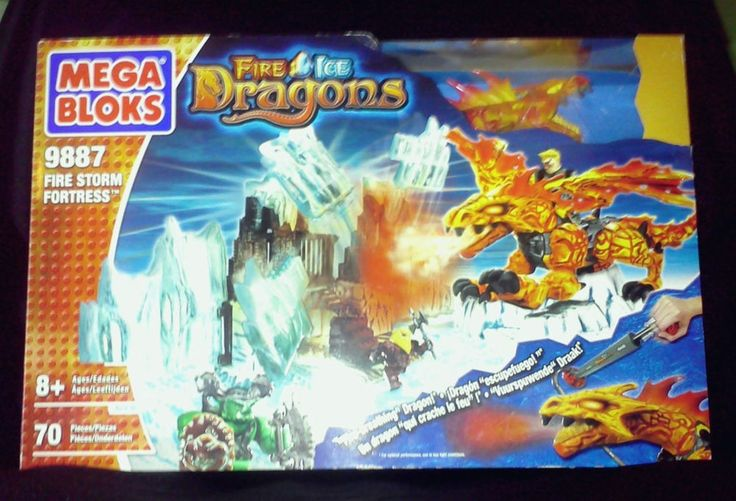 Mega Bloks Fire Ice Dragons Firestorm Fortress 9887 Building New #MegaBloks