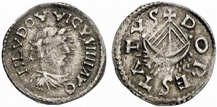 COINS OF THE CAROLINGIAN PERIOD. LOUIS THE PIOUS, 814-840. Denarius, Dorestad. AR 1.68 g. HLVDOVVICVS IMP AVG Laureate and draped bust r. Rev. DORESTATVS Boat. Prou 63-6