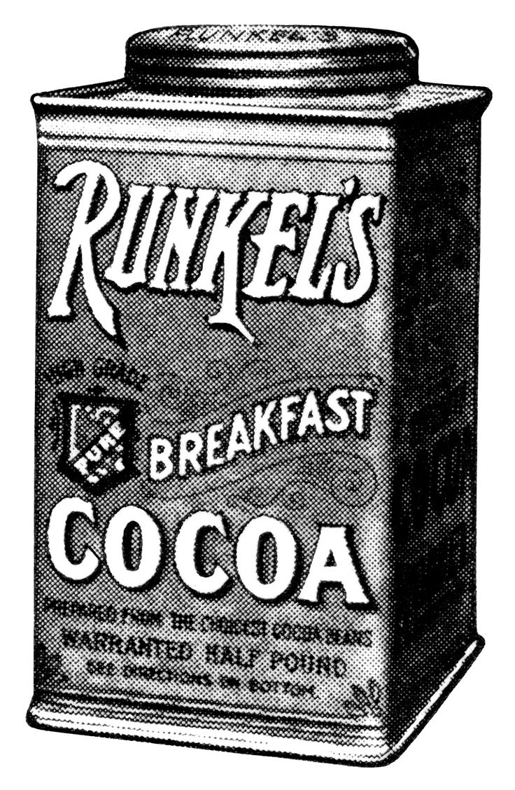 Runkel's chocolate, antique magazine advertising, black and white graphics free, vintage kitchen clip art, vintage chocolate graphics