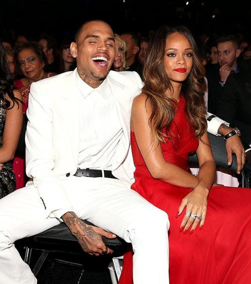 Chris Brown, Rihanna get all cuddly at Grammy Awards. I wonder if he beat her up this year?