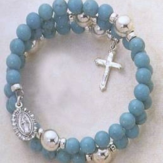 classic rosary bracelet with spacers.