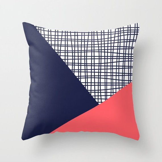 Coral Red Navy Blue White Throw Pillow Mix And Match Indoor Etsy