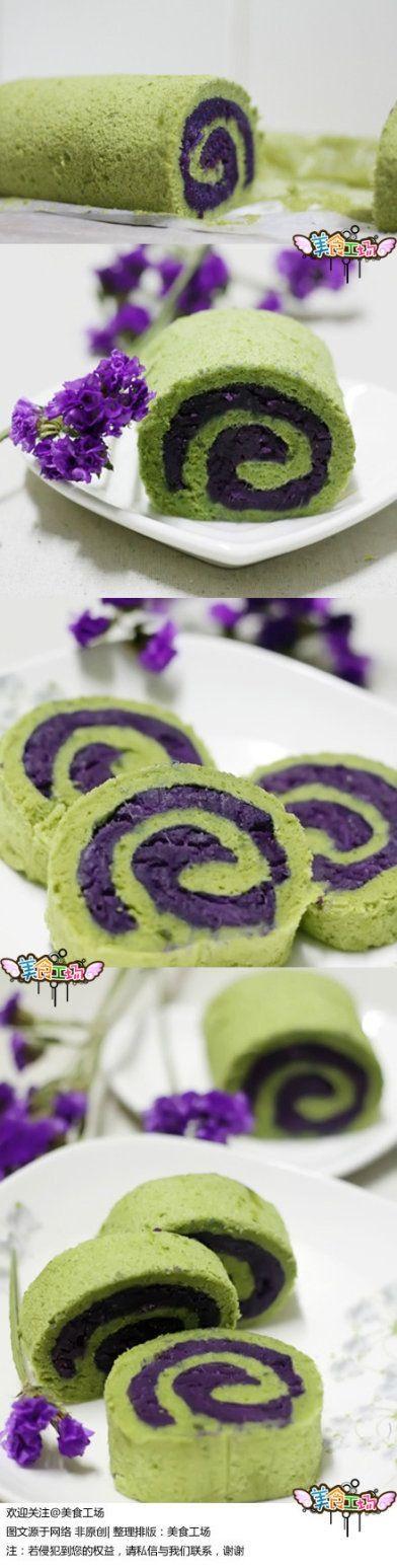Green tea taro cake