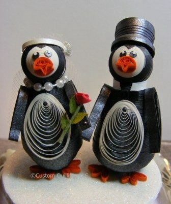 Custom Quilling DT Sue Custer Quilled Penguin Bride and Groom