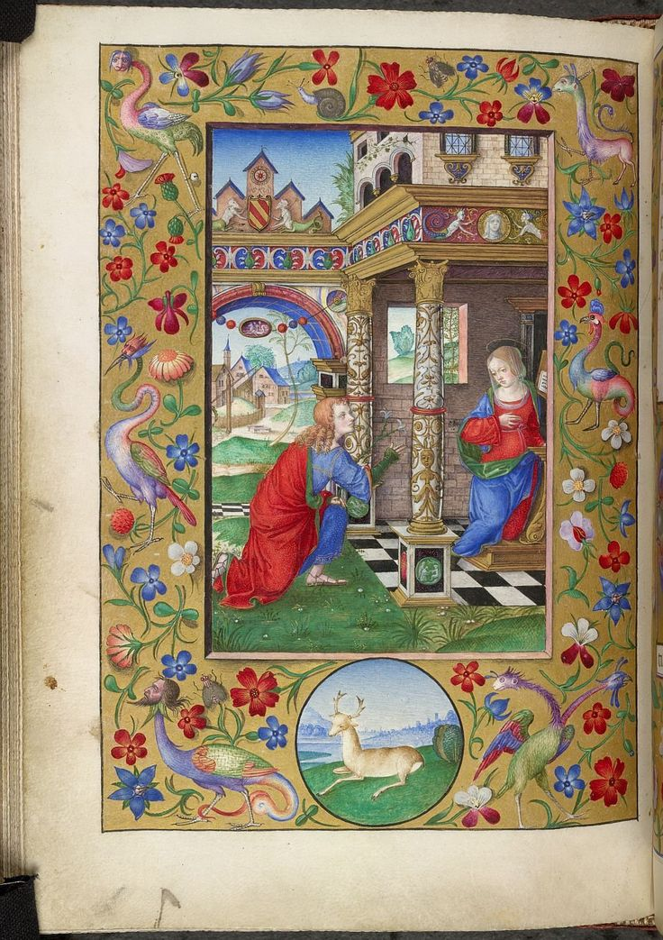 Description:Miniature of the Annunciation, with a border with flowers, grotesques, and a deer in a roundel in the lower margin, at the beginning of the Hours of the Virgin.  Origin:Italy, N. (Bologna)  Attribution:Matteo da Milano