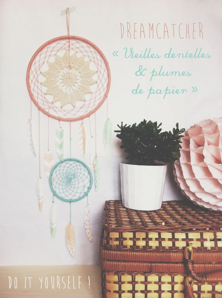 Asaline Illustrations.dreamcatcher diy tuto napperon plume papier
