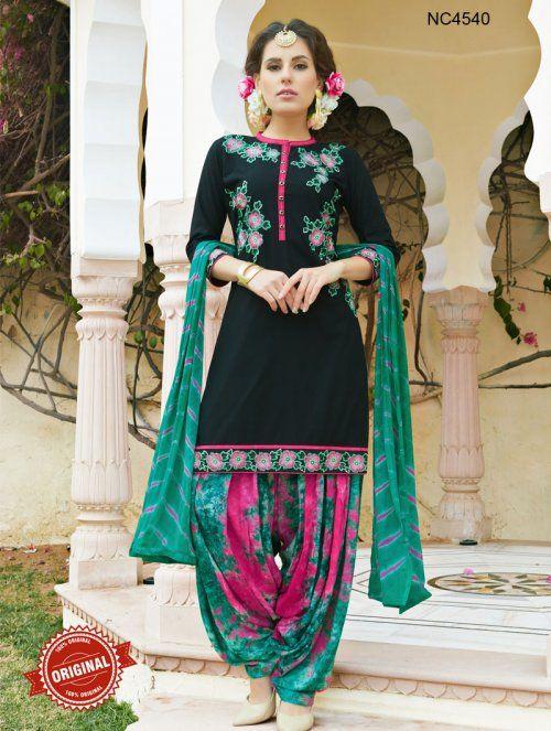 Black & Green Semi Cotton Patiala Suit