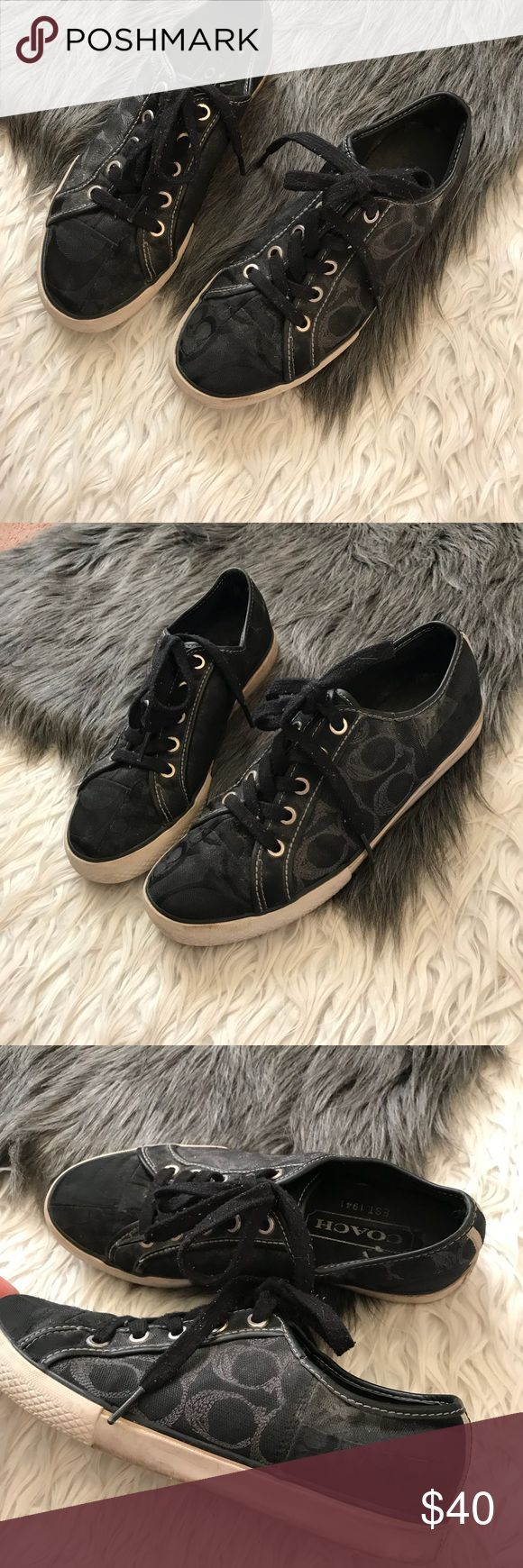 Black coach tennis shoes In used condition Coach Shoes Sneakers