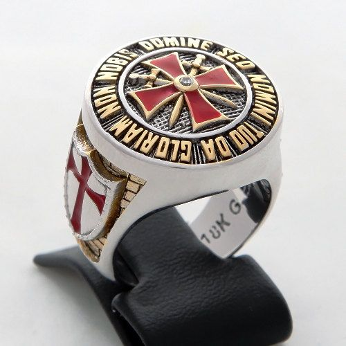 Knights Templar Masonic ring 18k gold pld 40 gr. by vipZone3440