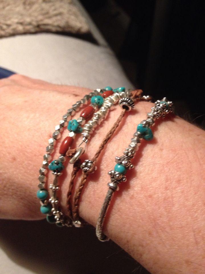 Sterling silver stacked mix bracelets