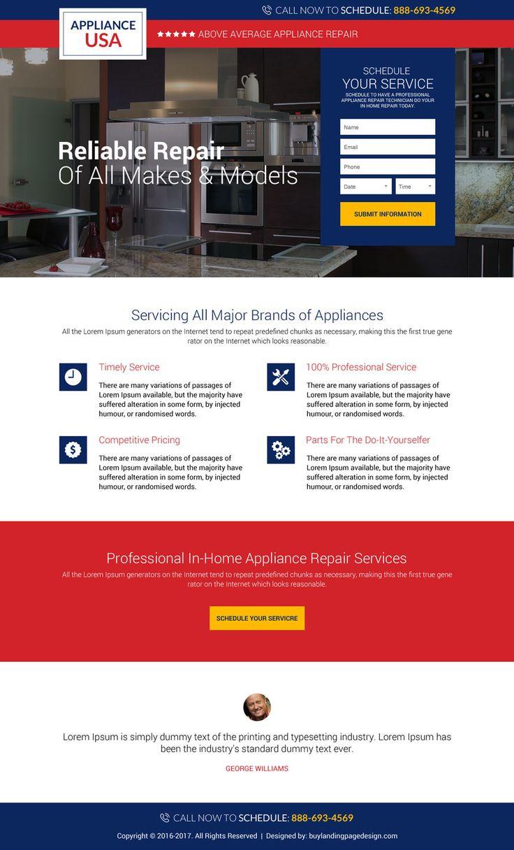 Appliance Repair Service Lead Capture Landing Page Designs | Landing Pages Part 82