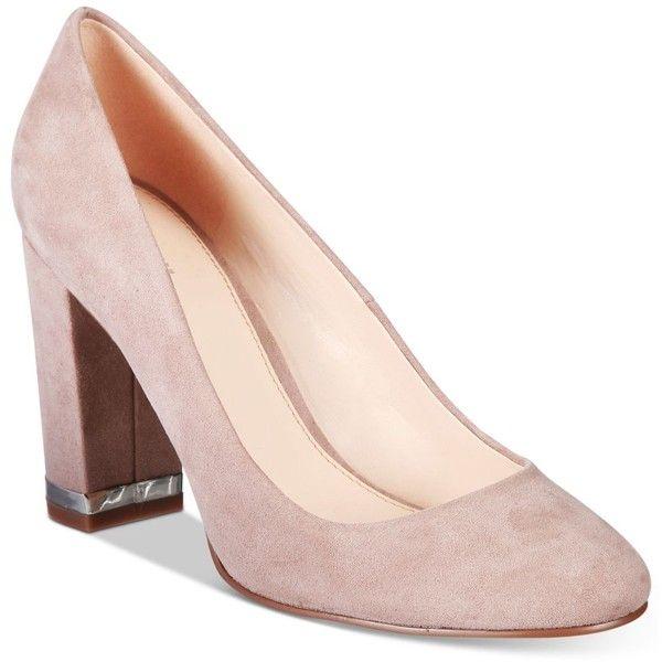 Bar Iii Selena Block-Heel Pumps, (€74) ❤ liked on Polyvore featuring shoes, pumps, grey, bar iii shoes, block heel shoes, gray pumps, block heel court shoes and block heel pumps