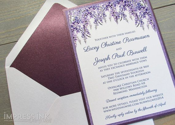Lavender Wisteria Wedding Invitation Sample | Flat or Pocket Fold Style