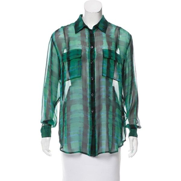 Pre-owned Equipment Silk Button-Up Blouse ($50) ❤ liked on Polyvore featuring tops, blouses, green, multi color blouse, long sleeve blouse, silk print blouse, green top and silk top