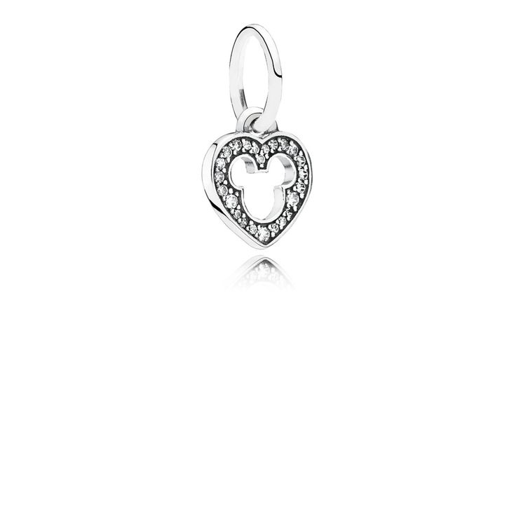 Disney heart silver dangle with cubic zirconia and cut-out Mickey silhouette - 791557CZ - Charms | PANDORA