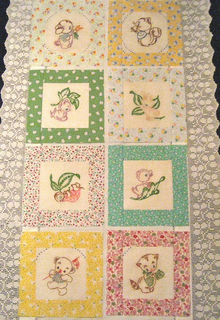 Vintage-style child's quilt with embroidered panels and repro 30s Moda fabrics - from Vintage Grey