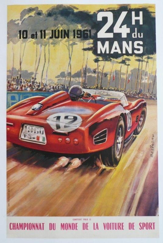 affiche originale des 24 heures du mans 1961 michel beligond racing posters programmes and. Black Bedroom Furniture Sets. Home Design Ideas