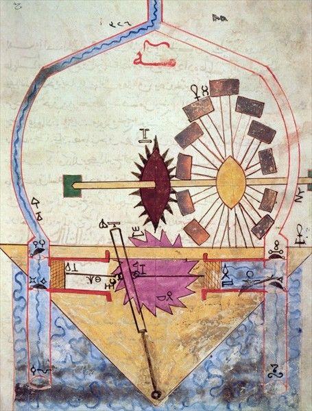 from the Book of the Knowledge of Ingenious Mechanical Devices by al-Jazari 1206  - Topkapi Palace Museum, Istanbul, Turkey (Ahmed III 3472)    digital copy: http://www.ebuliz.com/ebuliz22.swf