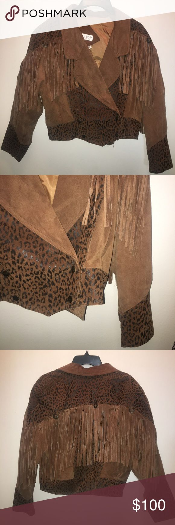 VINTAGE LEATHER LEOPARD PRINT FRINGE JACKET! Vintage leather leopard print fringe jacket, perfect condition, made in Korea! This is a must buy for all you vintage wearers! 100% Nylon Taffeta Jackets & Coats