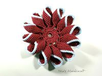 Tina's handicraft : 3D crochet flower with rolled leaves No 18