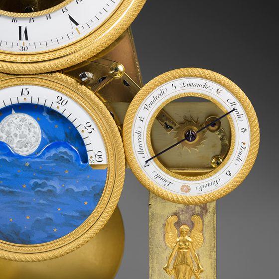 "- Rare Gilt Bronze and ""Vert de Mer"" Marble Skeleton Clock, Empire period c1810"